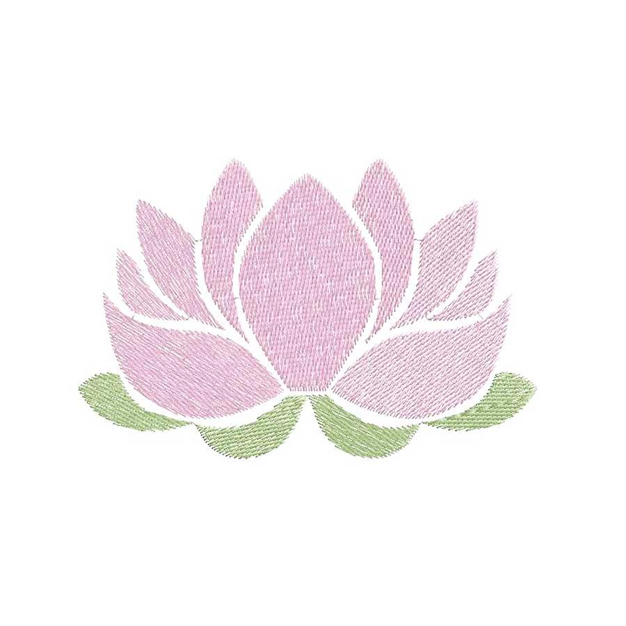 Broderie Motif fleur de lotus rose pleine