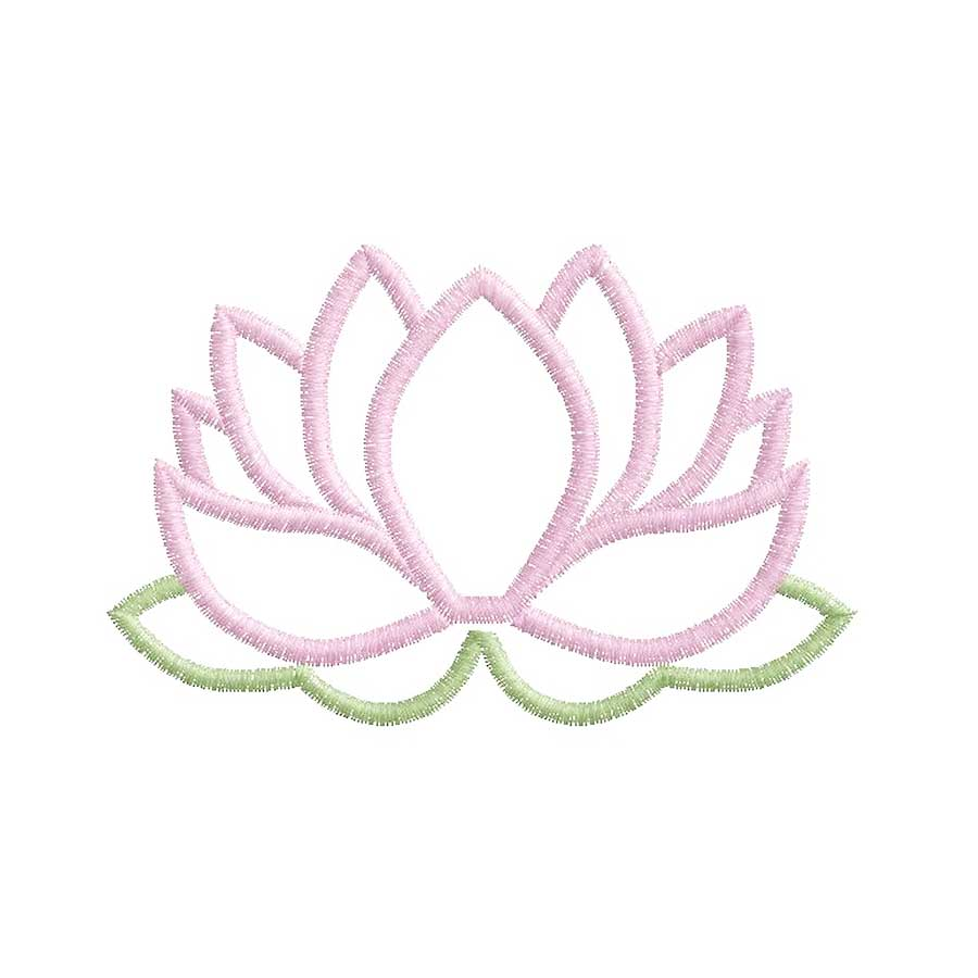 Broderie Motif fleur de lotus rose traits