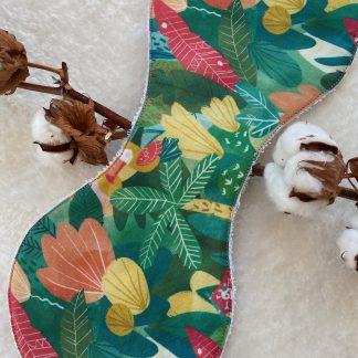 Bavoir d'épaule Tissu éponge écru et popeline jungle perroquet