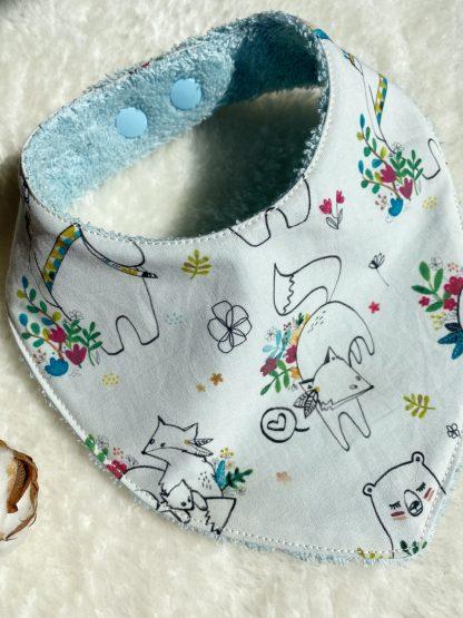 bavoir bandana coton bio GOTS motif renard