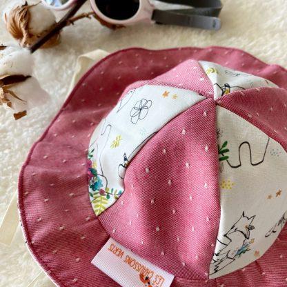 chapeau soleil enfant bébé personnalisable coton bio bicolore
