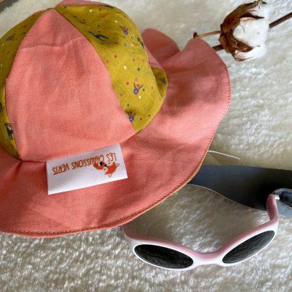 chapeau de soleil enfant bébé personnalisable tissus bio bicolore