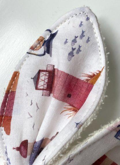 détail oreille de lapin anneau dentition personnalisable en tissus coton bio