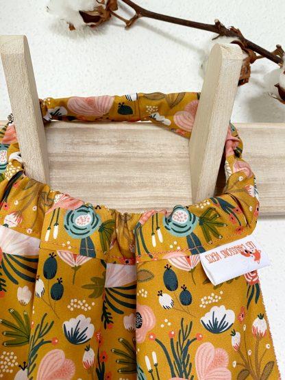 serviette de table enfant élastique personnalisable coton bio motif fleuri