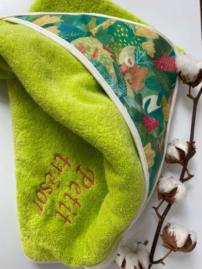 drap de bain bébé enfant personnalisé avec broderie coton bio