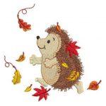 Broderie Motif hérisson et feuilles d\\\'automne