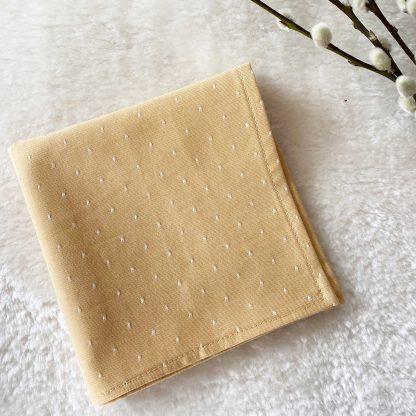 Mouchoir en tissu chambray jaune moutarde et pois blancs