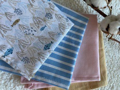 lot mouchoirs tissus coton bio personnalisable