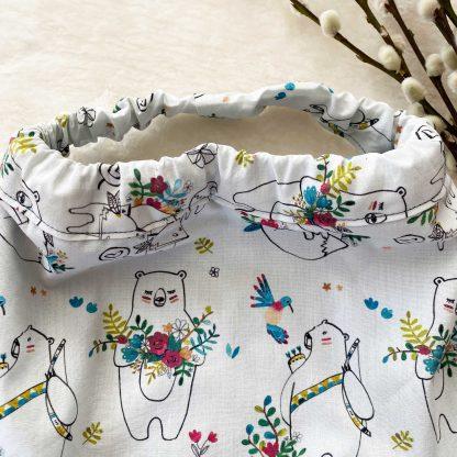 Zoom sur l'élastique da la serviette élastiquée en tissu popeline Animaux et Fleurs et en tissu éponge bleu