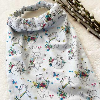 Recto de la serviette élastiquée en tissu popeline Animaux et Fleurs et en tissu éponge bleu