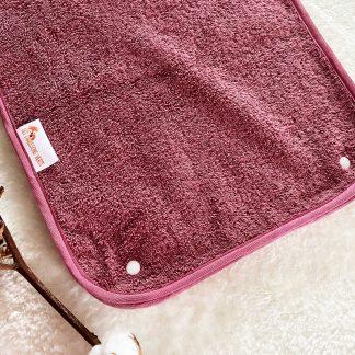 Serviette pour tapis de change nomade, tissu éponge bordeaux
