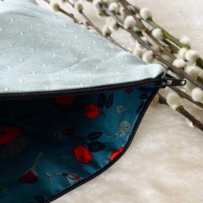 Trous enduite en tissu chambray coton bio couleur vert d'eau à pois blancs et tissu laminé/enduit à l'intérieur
