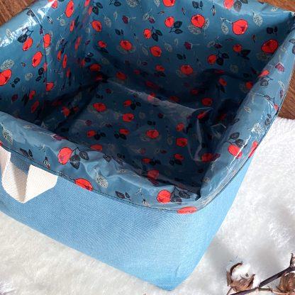 Sac à l'inge sale pour enfant, réversible en tissu hydrofuge bleu à roses rouges et tissu denim bleu