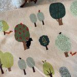 jersey coton bio motif loup bois