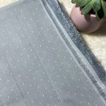chambray coton bio gris clair pois blancs