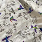 popeline bio blanche colibri multicolore