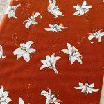 popeline bio fond rouille fleur de lys